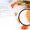 Catalogue ouvert avec détail agrandi : légère visibilité du fil (point)