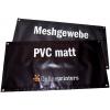 Bâches en PVC mat 500g/m² et tissu mesh en PVC 300g/m² avec en option pose d'oeillets en bordure (similaire à l'illustration)